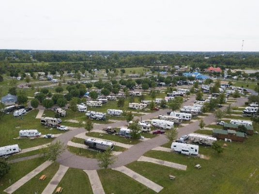 Arial view of camp grounds